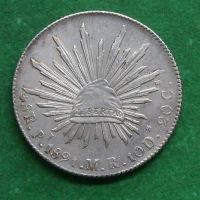 1891 MEXICO SILVER 8 Reales Mexican Pi MR caps & rays