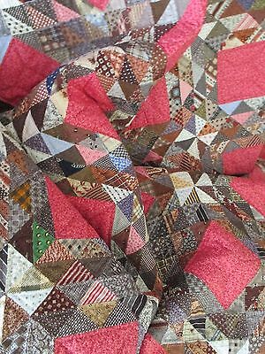 HANDMADE HAND QUILTED Quilt 1850 Civil War Era Reproduction Vintage Hand Quilted