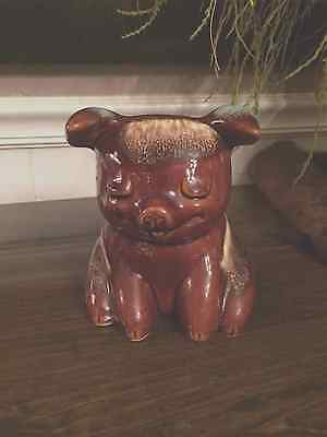 Vintage Hull Pottery Piggy Bank Brown Drip Turquoise EUC