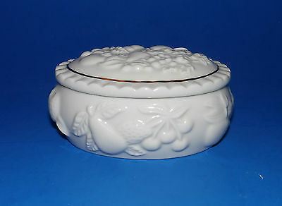 """Small Oval Trinket Box by Lenox - Fruits of Life Pattern - Cream, 24K Gold - 3"""""""