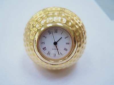 """GOLF BALL CLOCK & PAPERWEIGHT Roman Numeral Gold Tone 1.5"""" Diameter GREAT GIFT!"""