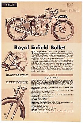 ROYAL ENFIELD TWIN and BULLET MOTORCYCLES Specifications and Description 1951 AD
