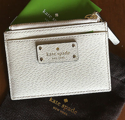 NWT Kate Spade Leather Card Case Wallet Adi Grove St Pumice Ivory Coin Purse $59