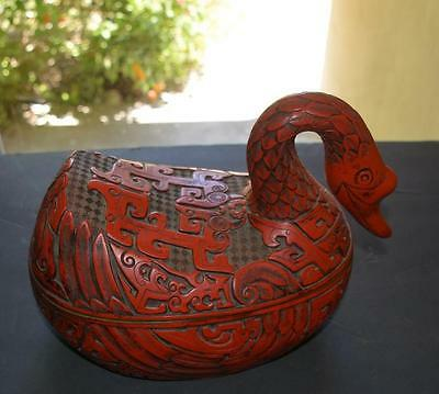Authentic Chinese Cinnabar Lacquer Mythological Swan Form Box ~ Nice
