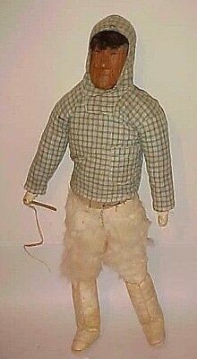 "Old  Inuit -  Eskimo  Fisherman  21""  Doll  Original  Condition Circa 1940's"