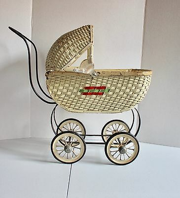 Antique Wicker Doll Stroller Buggy Small Pram Vintage w/ Mattress & Pillow 1930s