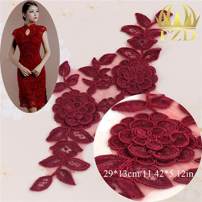 3D Lace Flower Embroidered Applique Sew on Patches for Clothing Dress Red