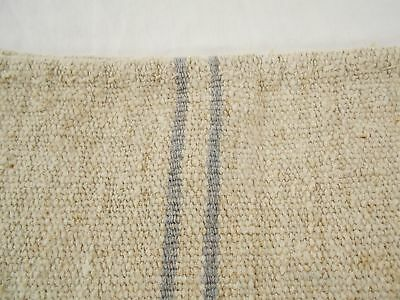 Vtg Antique GRAY STRIPE PRIMITIVE FRENCH HEMP LINEN Fabric FEED SACK GRAIN BAG