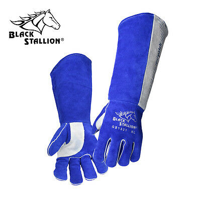 """Padded Long Cuff Split Cowhide Stick Gloves  21""""Size L Free shipping Aust Wide"""