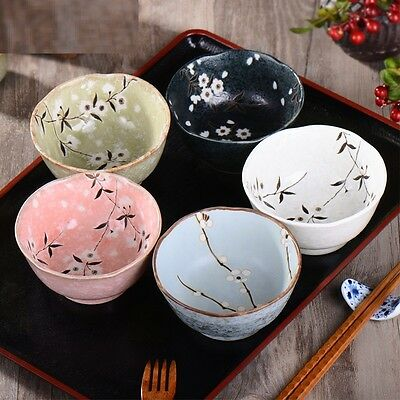 1 PC Japanese Ceramic Noodle Rice Bowl Cherry Blossom Hand-painted Made in Japan