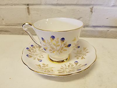 Vintage Porcelain Fine Bone China English Cup & Saucer w/ Gold/Blue Floral Dec.