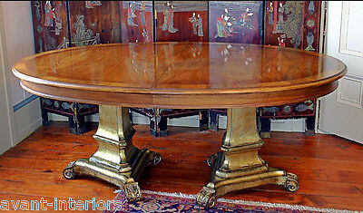 Karges French Walnut double pedestal Dining Banquet Table Gold leaf Base Minty!
