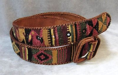 Vintage Boho Hippie Guatemalan Belt Leather & Woven Colorful Tribal size 38
