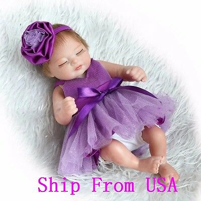 "11"" Sleeping Newborn Baby Silicone Realistic Reborn Girl Doll With Hair Toy"
