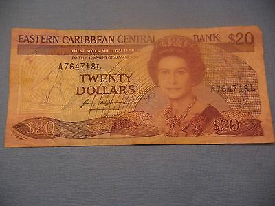 """EAST CARIBBEAN STATES letter """"L"""" St. Lucia - 20 Dollars (1988-92)"""