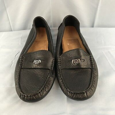 Coach Black Pebble Leather Nicola Driving Moccasin 9.5 Penny Loafer
