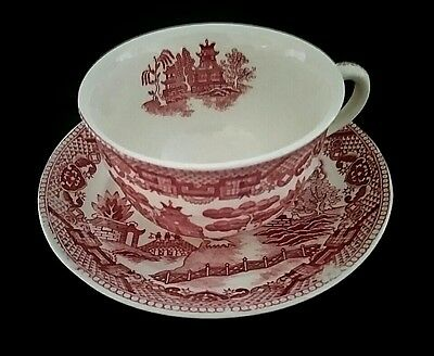 Vintage Deep Red Willow Ware Cup And Saucer  Stamped Japan