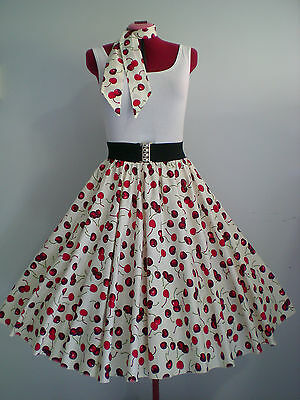 "ROCK N ROLL/ROCKABILLY ""Cherries"" SKIRT-SCARF M-L Ivory/Red."