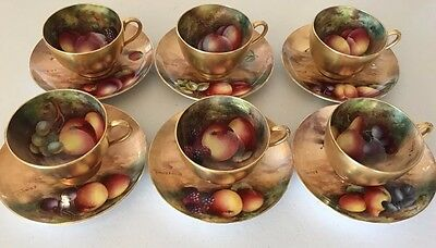 Royal Worcester Large Coffee Service Hand Painted Fruit Signed E Townsend
