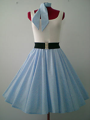 "ROCK N ROLL/ROCKABILLY ""Check"" SKIRT-SCARF S-M Powder Blue/White."