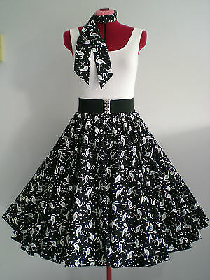 "ROCK N ROLL/ROCKABILLY ""Flamingos"" SKIRT & SCARF S-M Black/White."