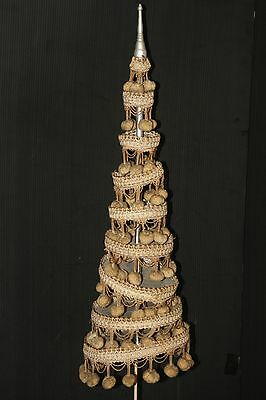 Thai Royalty old vintage 9 tiered umbrella soft gold on stand wood finial
