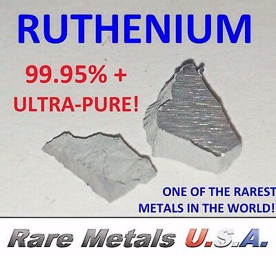 RUTHENIUM: 1.0 GRAM 1g PURE 99.95%+ SAMPLE PLATINUM GROUP CHUNKS RARE METALS USA