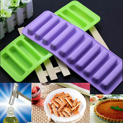 10 cell Chocolate Barette Finger Stick Water Bottle Ice Cube Silicone Mould DIY