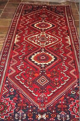 """""""Pole Medallions"""" 316x112 excellent quality Shirazz tribal persian runner"""