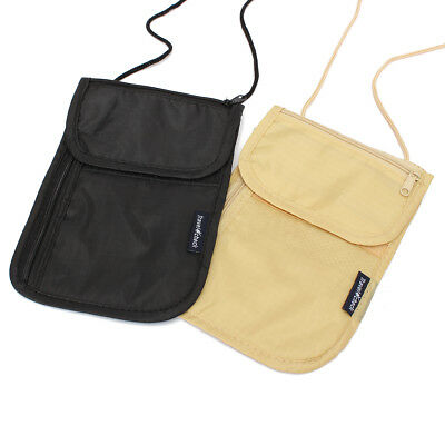 2Color Travel Bag Passport Wallet Pouch Theft Security Package Documents Halter