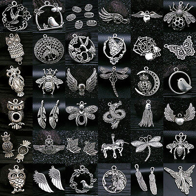 Lot Vintage Tibet Silver Owl Feather Wing Insect Pendant Charms Jewelry Findings