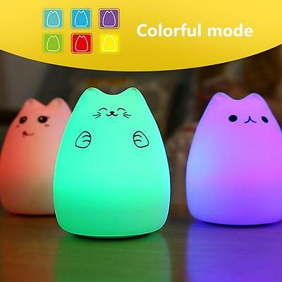 Color Cat LED Children Night Light Silicone Soft Baby Nursery Lamp Breathing KW