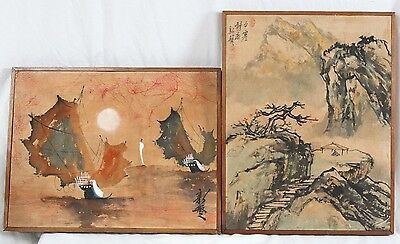 Antique Chinese Ink 16x21 Silk Painting Pair Junk Ship Seascape Landscape Signed