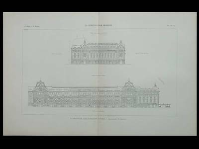 Paris Gare D'orsay, Musee D'orsay  - 1898 - Planche Architecture - Victor Laloux