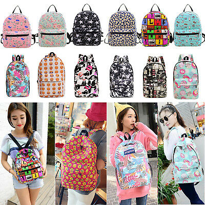 Women Girl Canvas School Backpack Casual Hiking Travel Rucksack Shoulder Bookbag