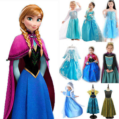 FROZEN Costume Elsa Anna Dress Up Gown Queen Princess Birthday Party Dress 3-9 Y