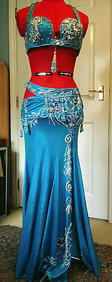 High end turquoise Egyptian bellydance costume
