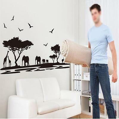 3D Large Animal African Wild elephant sticker Living Room Decorative wall art KW