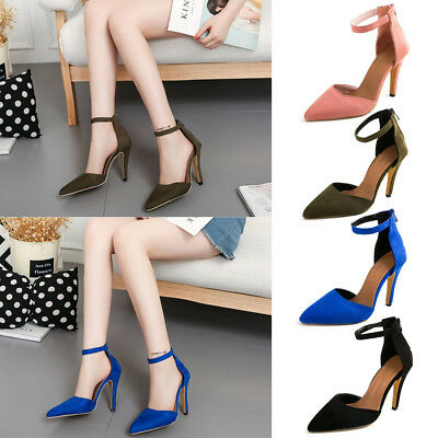 Womens Stiletto High Heel Sandals Ankle Strap Zip Pointed Toe Party Office Shoes