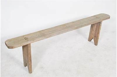 19th century French refectory pig bench pine antique vintage salvage