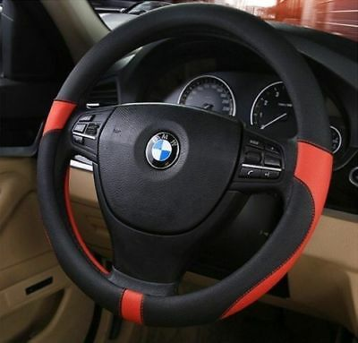 Black Real Genuine Leather Soft Car Cars Steering Wheel Cover Glove New