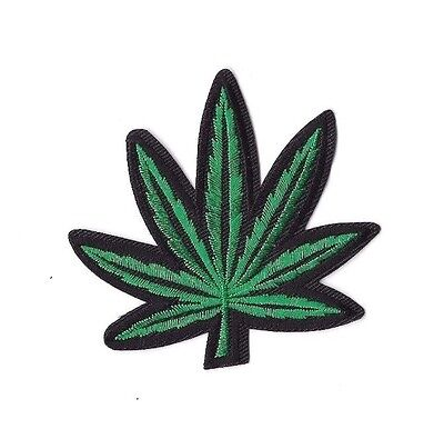 MARIJUANA LEAF IRON ON PATCH Embroidered Badge Motif Sew Craft WEED PT185