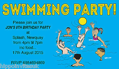 SWIMMING PARTY POOL Activity Party Kids Birthday Invitations Envs X 10 H0384