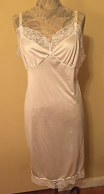 Vintage Silky Champagne Nylon Ladies Slip With Lace  Sz 38 By Opalaire