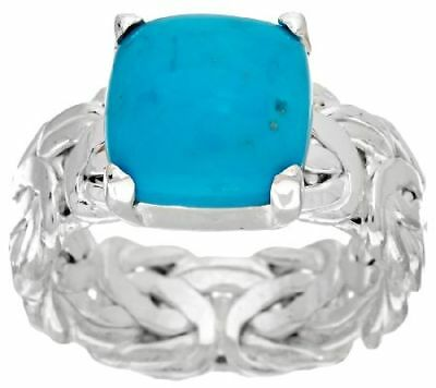 QVC Sleeping Beauty Turquoise Byzantine Sterling Silver Ring Size 7