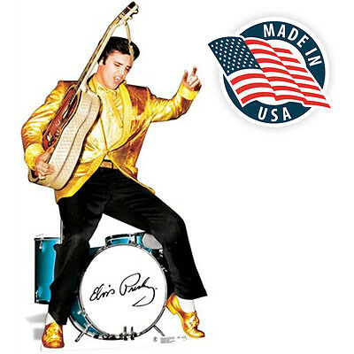 Elvis Presley Cardboard Cutout Life Size Standup Gold Jacket and Drums 73 x 38