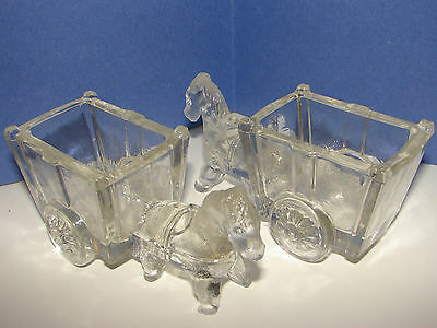 Antique Glass Candy Containers. a pair of donkey drawn carts. see pictures,