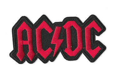 ACDC RED BLACK LOGO IRON ON / SEW ON PATCH Embroidered Badge PT106 MUSIC