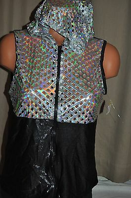 Nwt Theatricals Adult size Medium silver and black hooded dance hip hop jacket