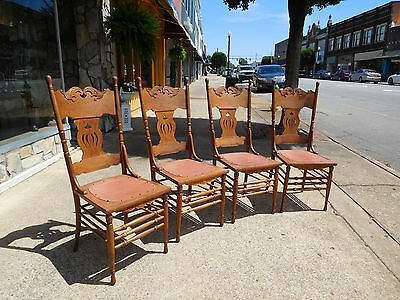 Outstanding Set of Four Oak Kitchen Chairs 20thc.